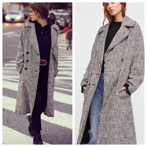 FREE PEOPLE menswear plaid coat, NWT
